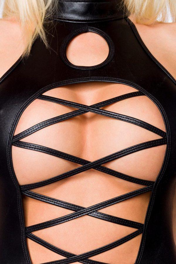 Wetlookdräkt med häftig kjol