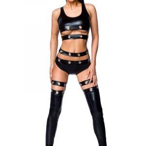 Linne trosor och leggings med kedjor och metallringar