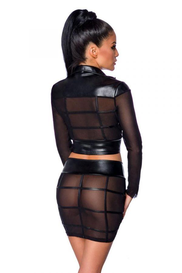 Set med genomskinlig kjol och jacka i mesh