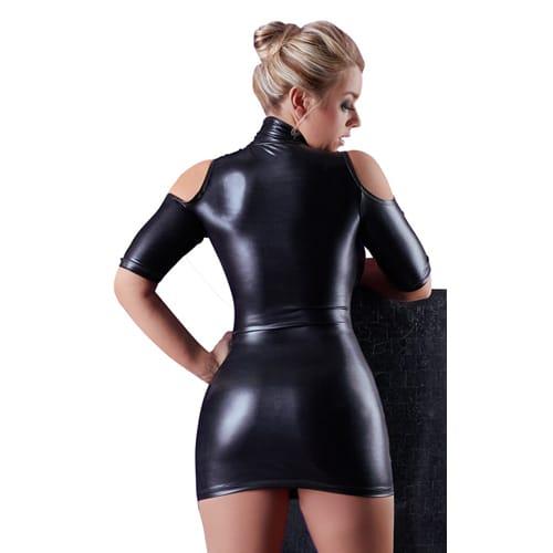 Wetlook-klänning med cutouts