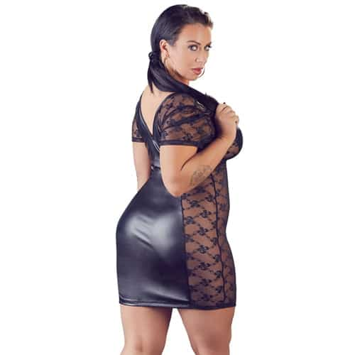 Wetlook-klänning med spetssidor