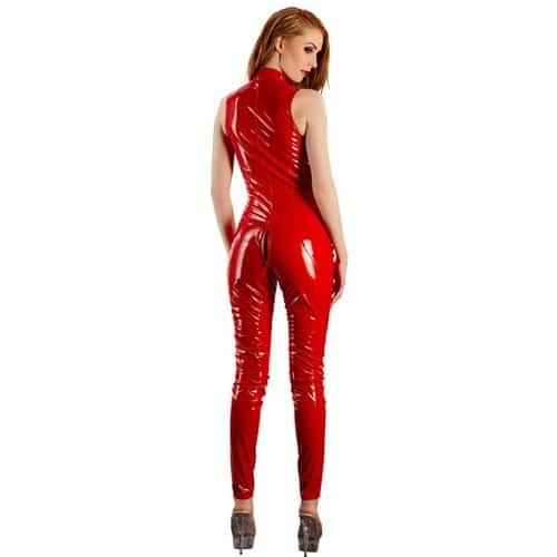 Jumpsuit i vinyl – Röd