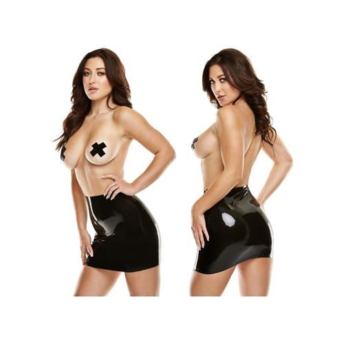 Latexminiklänning med nipplecovers – Svart