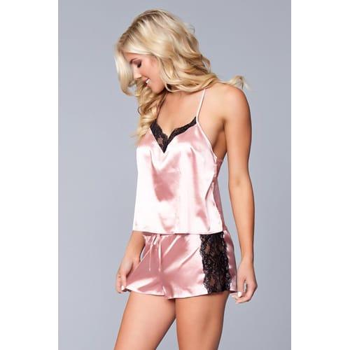 Jasmina Satin Top & Short Set – Pink