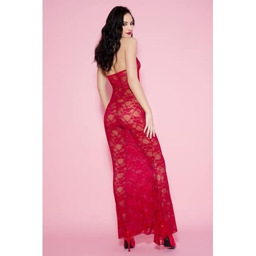 Långklänning i spets med halterneck – Röd
