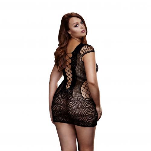 Baci – Enkel Fishnetklänning – Svart – Queen Size