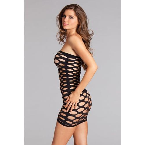 Axelbandslös klänning med hål