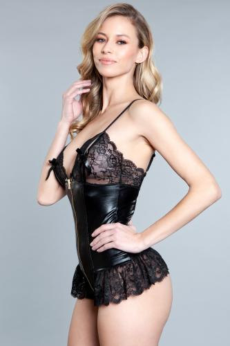 Beatrix Wetlook Bodysuit – Black