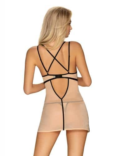 Nudelia Sexig klänning med matchande stringtrosa – Svart/Nude